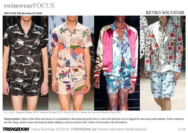 #Trendzine SS 2018 trends on #WeConnectFashion. Men's Swimwear: Retro Souvenir