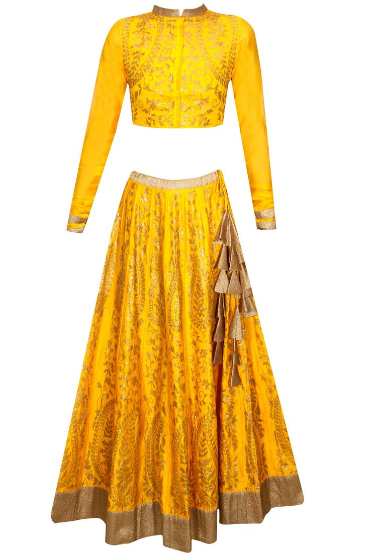 Yellow and bronze sequins embroidered lehenga set availaible only at Pernia's Pop Up Shop.
