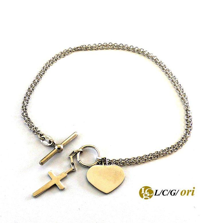 Bracciale cuore croce in argento 925. Maggiori informazioni su WWW.LCGORI.COM
