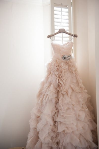 blush ruffle wedding gown