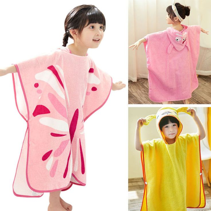 Newest Kids Bathrobe Durable Hooded Poncho Toddler Beach Swimming Fluffy Towel