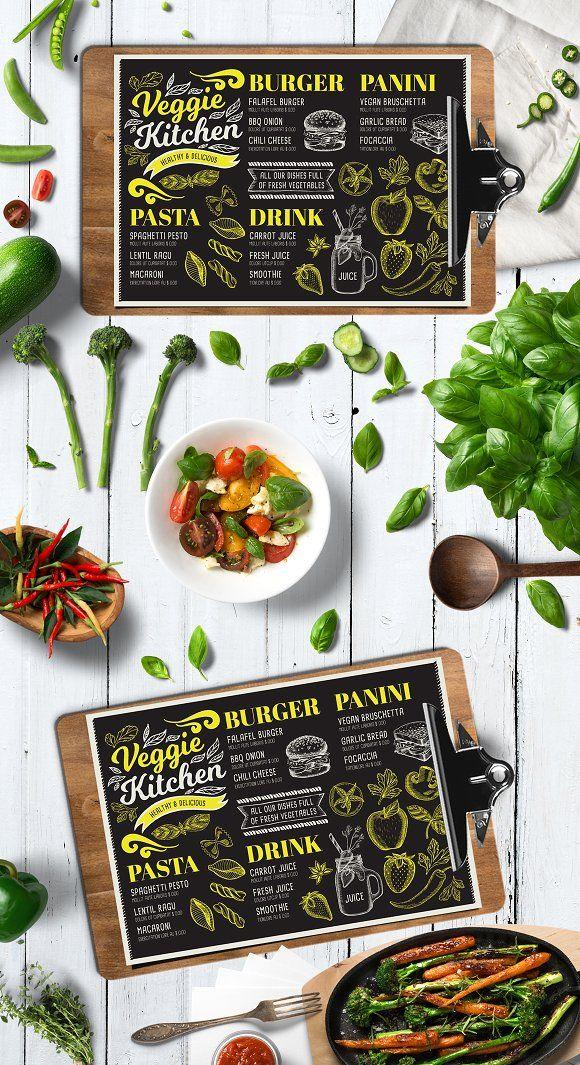 Vegan Food Menu. Creative and modern food menu templates for your restaurant business.  More #vegetarian #menu for your #brand you can download here ➝ https://creativemarket.com/BarcelonaDesignShop?u=BarcelonaDesignShop
