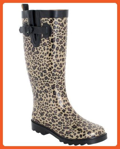 Capelli New York Shiny Baby Leopard Printed Ladies Tall Sporty Rubber Rain Boot Black Combo Combo 6 - Boots for women (*Amazon Partner-Link)