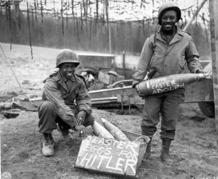 """""""Easter morning, T/5 William E. Thomas...and Pfc. Joseph Jackson...will roll specially prepared eggs on Hitler's lawn."""" March 10, 1945."""