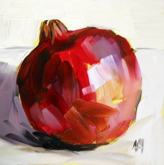 images of pomegranate painting | Pomegranate original painting by moulton 6 x 6 inches