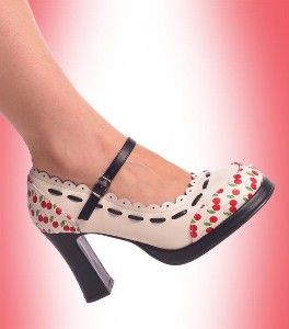 Cherry Print Mary Jane Shoes: Jane Cherries, Rockabilly Mary Jane Shoes, Cute Shoes, Prints Shoes, Scallops Trim, Shoes For, Shoes Elvis, Cherries Prints, Cherries Bliss