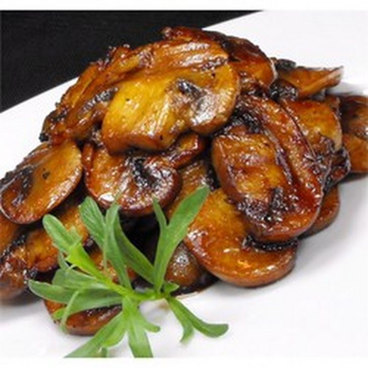Mushrooms with a Soy Sauce Glaze Recipe Side Dishes with butter, white mushrooms, garlic, soy sauce, ground black pepper