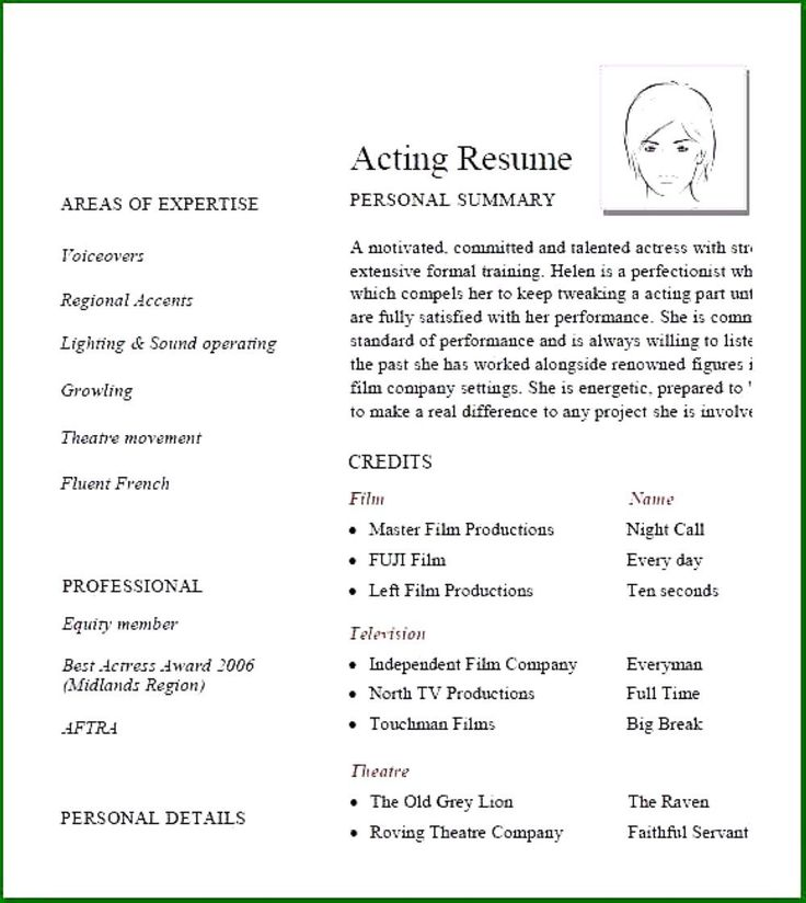 30 Acting Resume No Experience in 2020 Acting resume