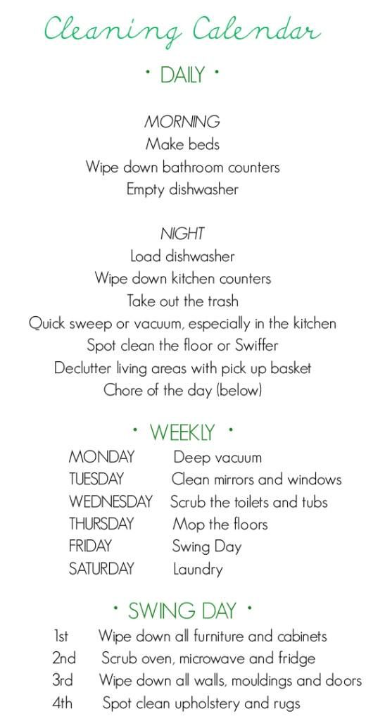 Easy and maintainable cleaning schedule