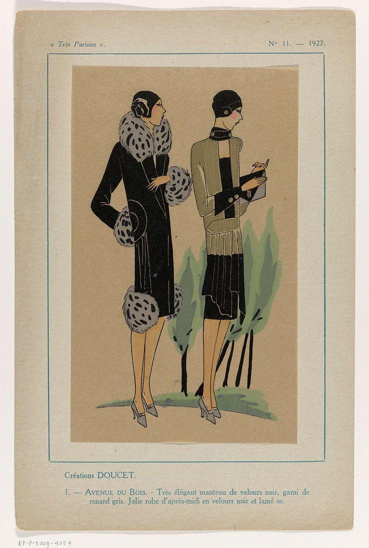 Anonymous | Très Parisien, 1927, No. 11 : -1: Créations Doucet..., Anonymous, Jacques Doucet, G-P. Joumard, 1927 | Ontwerpen van Doucet. Mantel van zwart fluweel, gegarneerd met grijs vossenbont. Middagjurk van zwart fluweel en goudlamé.  Accessoires: cloche (pothoed) of muts, enveloptas, pumps. Prent uit het modetijdschrift Très Parisien (1920-1936).