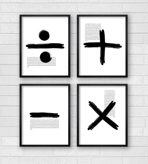 Modern Wall Decor Art Black White By DaphneGraphics