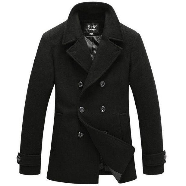 Stylish Pea Coats for Men   Men stylish pea coats Brand winter jacket for man double breast mens ...