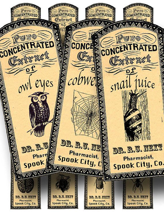 Apothecary labels to decorate favors for your Halloween party, a printable digital collage sheet. This Etsy shop has hundreds of vintage images, maps, and collage sheets for scrapbooking, journal-making and all sorts of DIY projects.
