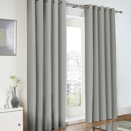 Dunelm Stylish Grey Baxter Lined Eyelet Curtains