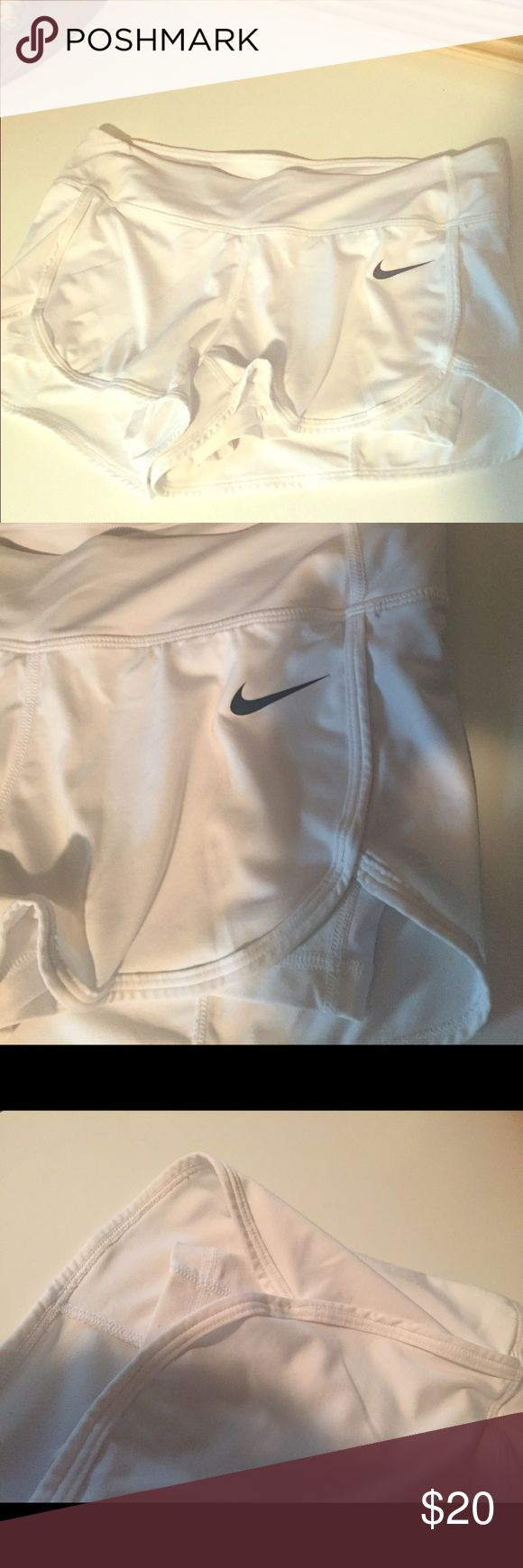 Woman's Nike TENNIS shorts These shorts are for tennis... They fit tight!  And are supposed to be tight!  So as a 45 year old I must let them go ha ha!  I'm a size 10!  The waist is not made for them to be too loose or they fall when playing.. I bought a large and discovered that:(. Nylon material Nike Shorts