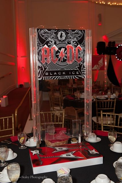 Custom Music Themed Bar Mitzvah Tall Centerpiece Album