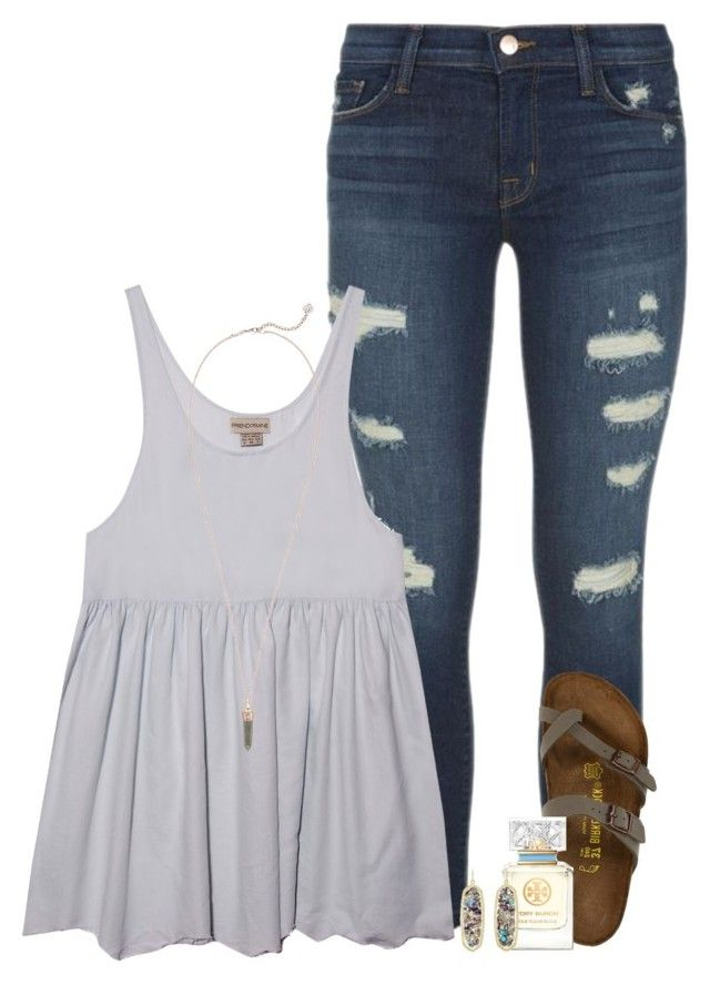 having a country music phase by conleighh on Polyvore featuring J Brand, Birkenstock, Kendra Scott, Tory Burch and country