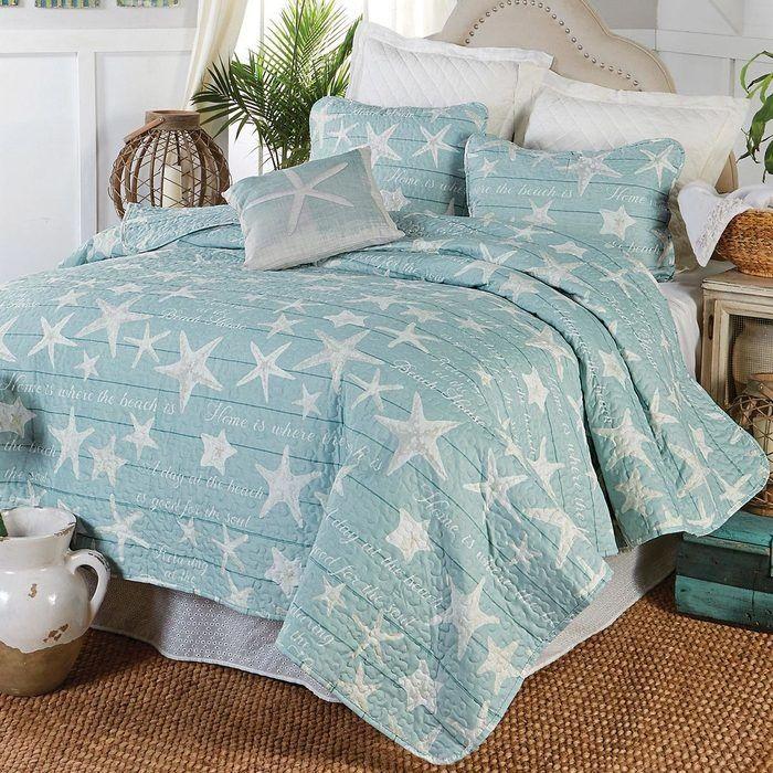 Boardwalk Starfish Quilt Set Twin Beach Bedding Sets Quilt Sets Bedding Quilt Bedding