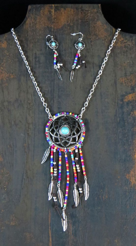 """COWGIRL 26"""" Necklace set DREAM CATCHER Feathers Turquoise Native GYPSY WESTERN #icon"""