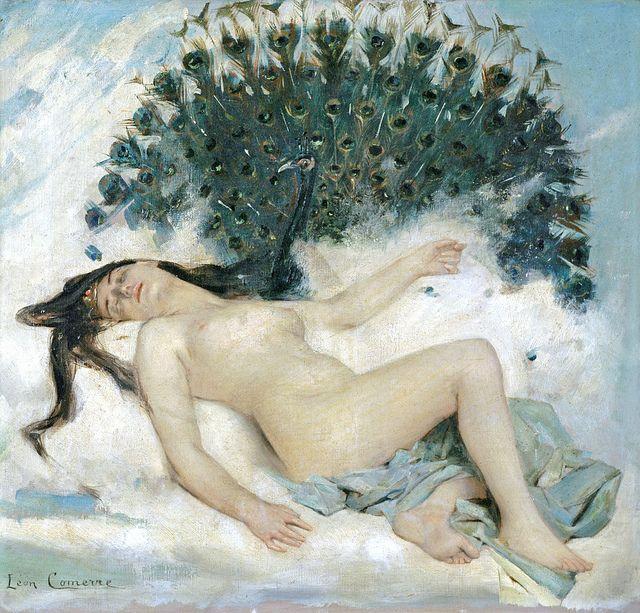 "Leon-Francois Comerre (1850-1916), ""An Odalisque with a Peacock:"