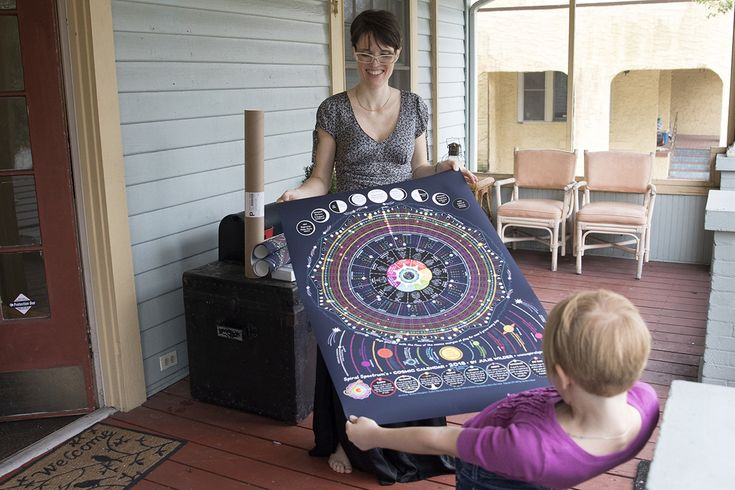 A mother and daughter roll out the larger poster version of their Spectrum Cosmic Calendar.