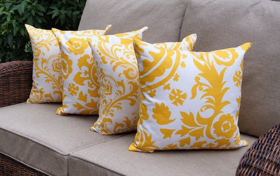 Modern Yellow Throw Pillow  - Suzani Corn Yellow and Traditions Corn Yellow Decorative Throw Pillows - 4 Pack -- Free Shipping on Etsy, $63.99
