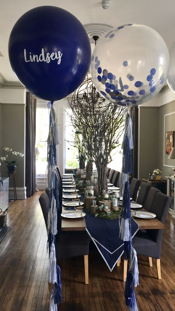 Personalised navy blue and silver giant balloons with matching balloon tassel tails made by The Feather Balloon Company for a Diamond and Denim party