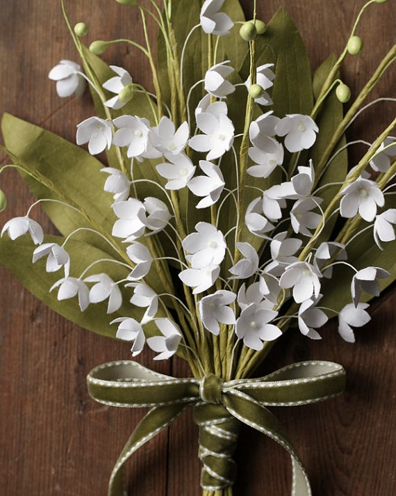 Paper Flowers  Lily of the Valley Bridal by smilemercantile, $137.00