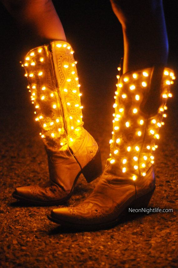 Rock these one of a kind, hand made, light up Womens Cowboy Boots at a party, concert, saloon, club or country bar! Like us on Facebook -