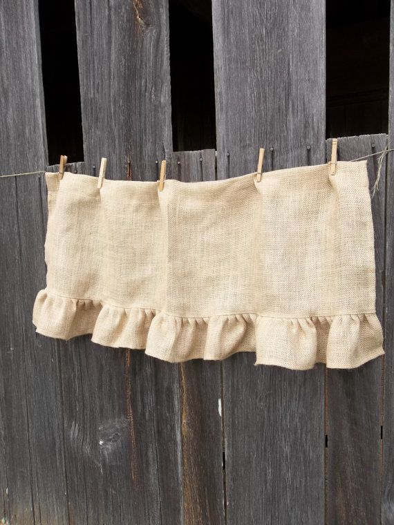Ruffled Burlap Curtain Farmhouse Kitchen Valance Window Treatment Burlap Panel Rustic Curtain French Country Made to Order on Etsy, $28.00