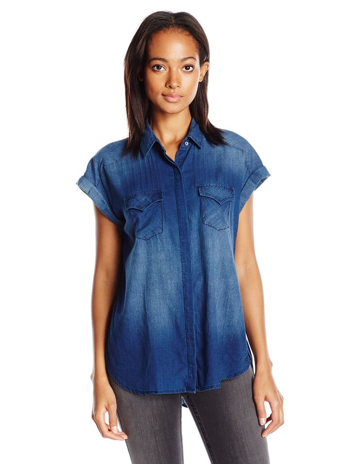 True Religion Women's Rolled Sleeve Georgia Shirt, Indigo Rinse, X-Small. Rolled sleeve. Button down.
