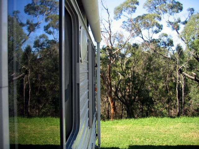 Camping in a National Park at the Lane Cove River Tourist Park Sydney.  The park is not far from the centre of Sydney and yet it seems to be a world away.