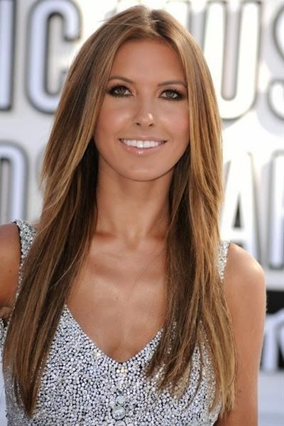 light brown hair with caramel highlights. Maybe Ill get this done tomorrow! Perfect for summer!