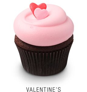 Valentine's: Georgetown Cupcake's classic vanilla², vanilla & chocolate, chocolate², and chocolate & vanilla cupcakes topped with seasonal holiday fondant decorations