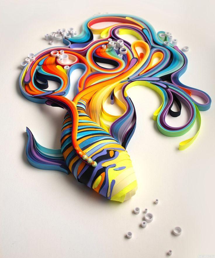 Красивая разноцветная рыба из бумаги - авы, фото, аватары