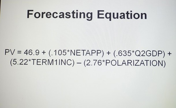 The equation used by Emory professor Alan Abramowitz to predict the outcome of the U.S. Presidential election is projected on a screen at Emory University in Atlanta, Georgia, July 27, 2012. Abramowitz, one of the most accurate forecasters of the las 2012 US Presidential Election Predictions