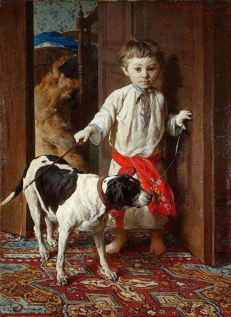 Pruszkowski, Witold (1846-1896) - 1881 ♥✮♥✮✤✮♥✮✤Artist's Son with a Dog
