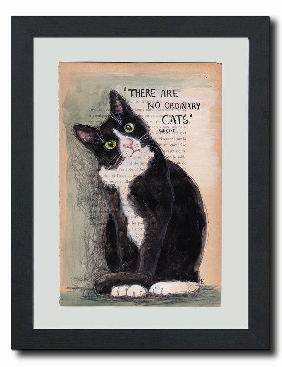 Original acrylic painting on vintage paper cat by LAVIOLETTENOIRE