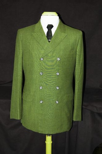 VTG 60's mod beatles double breasted 8-button olive green suit 39 ...