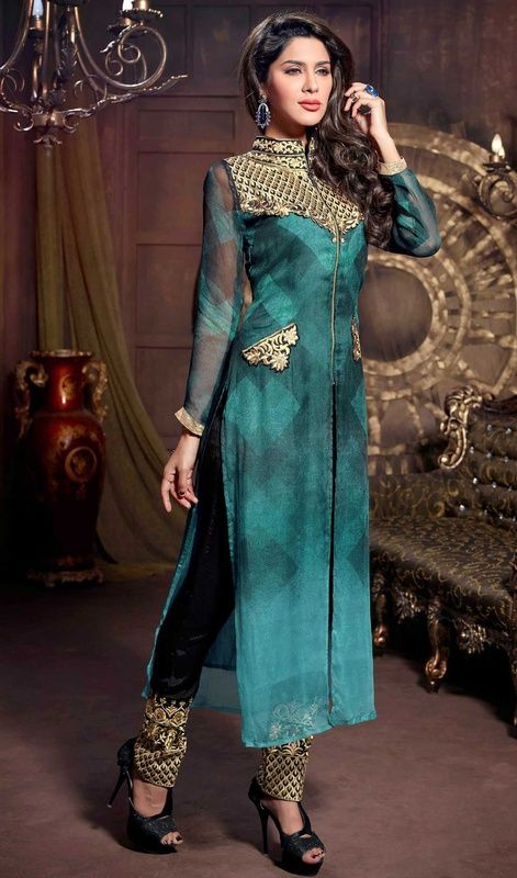 Immerse yourself in elegance draped in this teal blue georgette pant style suit. You could see some interesting patterns performed with resham work. #FashionablePartyWearDress