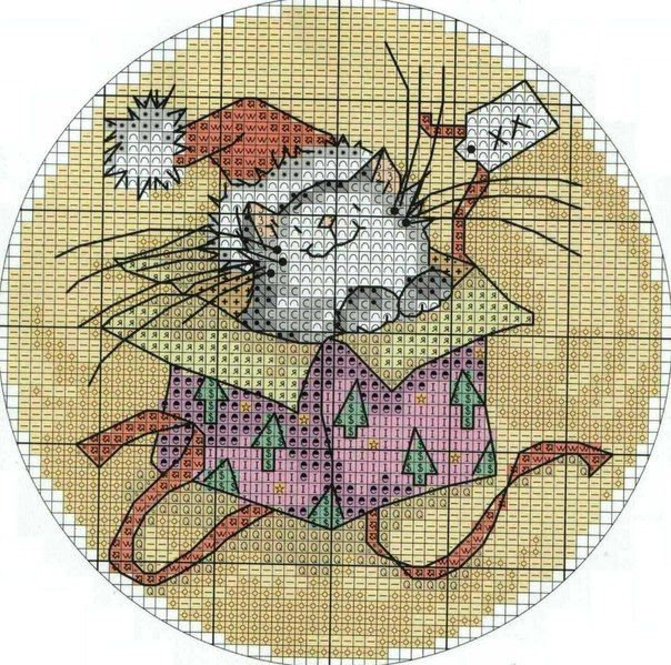 Christmas cross-stitch schemes ~~ CAT IN BOX  PAGE 2 OF 3