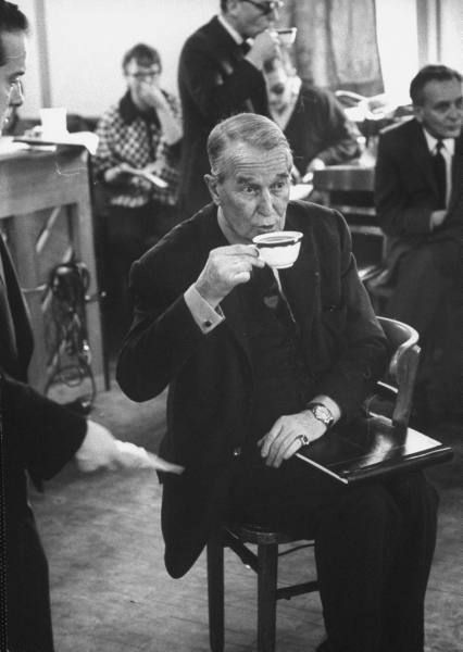 Actor Maurice Chevalier drinking coffee at a rehearsal break, 1961