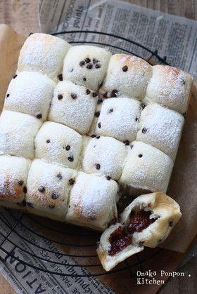 チョコチップ&チョコクリームちぎりパン♡