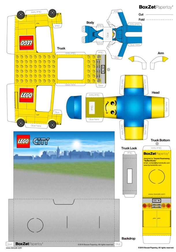 Blog Paper Toy papercraft Lego Truck template preview Papertoy LEGO Truck de BoxZet