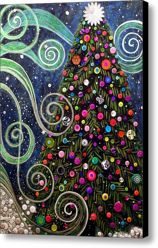 Button Tree 0012-holiday Canvas Print / Canvas Art By Monica Furlow