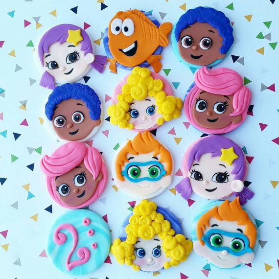 The listing is for 12 bubble guppies inspired toppers. They measure 2 inches in diameter You will receive 2 of each charcters, me grouper and age.  CONVO me for any changes ;)  Please dont forget make sure to read my policy before purchasing. Thank you