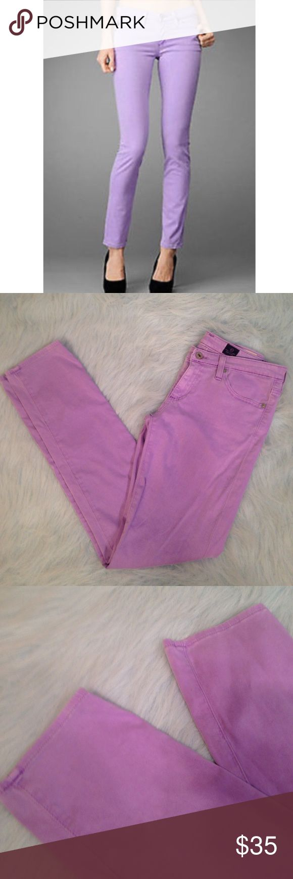 """AG 27 R The Stilt Cigarette Jeans Lavender Excellent used condition. No holes, stains, discoloration, snagging or pilling. Color is called highlighter purple. 80% Cotton 15% Modal 5% PU (no, I don't know what that is either). Very stretchy and soft. Waist 28"""". Length 37"""". Inseam 29 1/2"""". Ag Adriano Goldschmied Jeans Skinny"""