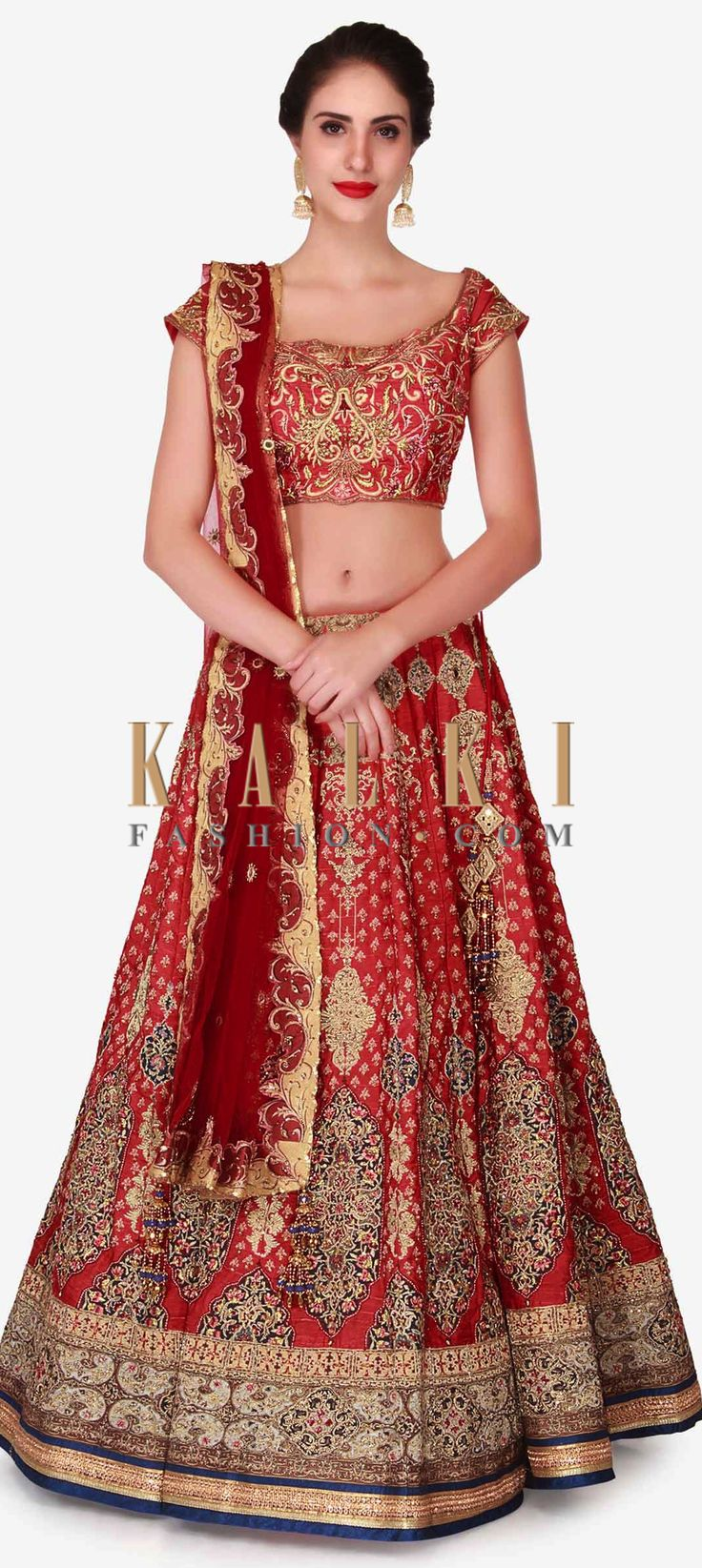 Buy Online from the link below. We ship worldwide (Free Shipping over US$100)  Click Anywhere to Tag Cherry red lehenga in raw silk embellished in zari embroidery work only on Kalki Take your style game a notch higher in this cherry red lehenga that will sweep off everybody's feet with its unique color. The lehenga is intricately designed using heavy zari embroidery work and is enhanced in mirror work that highlights the lehenga to the fullest, also the contrast thin hemline uplifts the look…