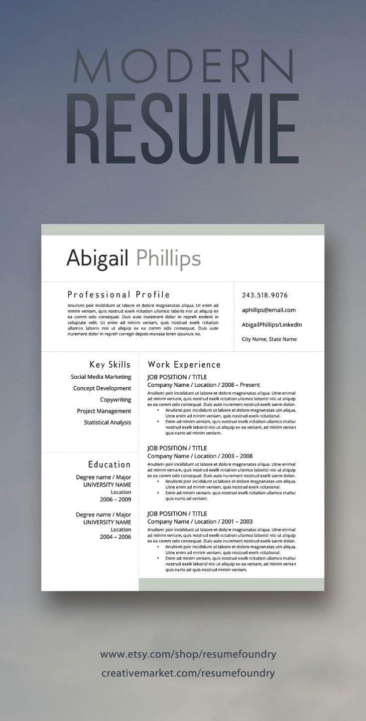 Modern resume for sale on Etsy Download