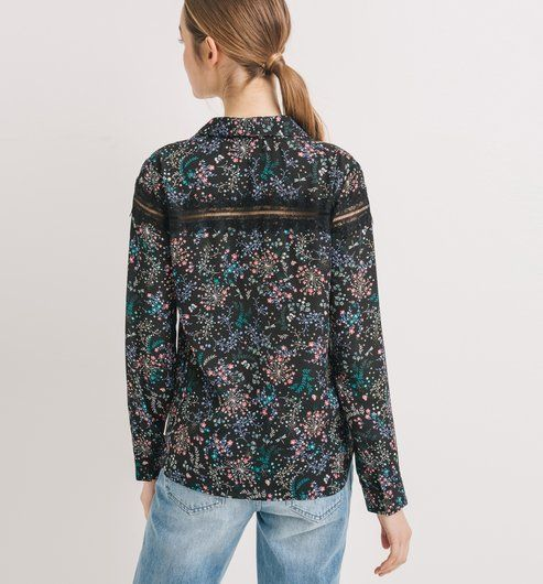 Camicia a fiori nero stampato - Promod